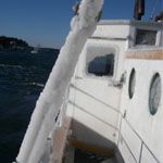 The Laura B covered in ice